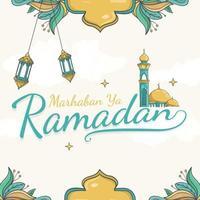 hand drawn marhaban ya ramadan lettering vector