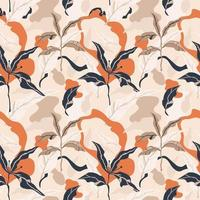 contemporary exotic jungle plants pattern.  floral seamless pattern vector