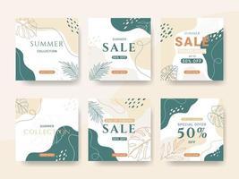 colección de publicaciones de redes sociales de venta de verano de fin de temporada vector
