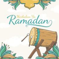 Hand drawn marhaban ya ramadan greeting card Background with Islamic Ornament vector