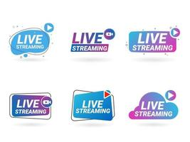 conjunto de símbolos de transmisión en vivo icono de transmisión en línea vector