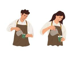 Vector illustration man and woman workers working as coffee shop baristas, baristas pouring and processing coffee preparations.