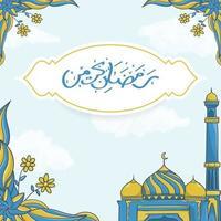 Hand drawn Ramadan Kareem Greeting Card with Islamic Ramadan Ornament vector