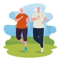 Linda pareja de ancianos corriendo al aire libre, el deporte y el concepto de ejercicio vector