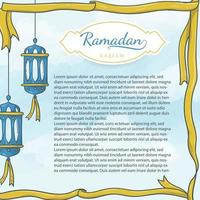 hand drawn islamic latern and ribbon background vector