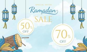 Hand drawn special offer ramadan sale banner with islamic ornament vector