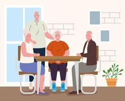 personas mayores haciendo actividades en el interior. vector