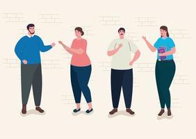 group of teachers avatar characters vector
