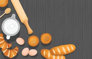 Bread, Eggs and Cooking Tools on Wooden Table vector