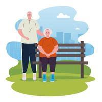 pareja de ancianos en el parque vector
