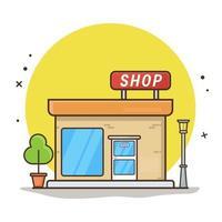 Ilustración de icono de vector de edificio de tienda