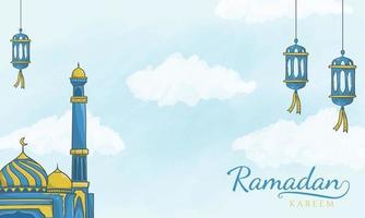 islamic latern and mosque ramadan kareem background vector