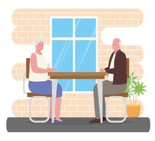 cute old couple in the dining room vector