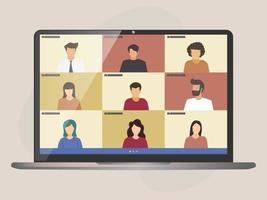 videollamada en conferencia, gestión remota de proyectos, cuarentena, trabajo desde casa vector