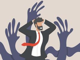 A psychological concept, a businessman character surrounded by giant creeping hands. men who are frightened or stressed out by work pressure. mental health vector