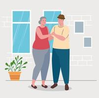 linda pareja de ancianos bailando en la casa vector