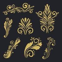 set of gold decorative elements vector