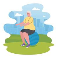 cute old woman practicing exercise outdoors, sport and recreation concept vector