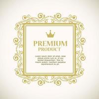 etiqueta de producto premium en una decoración de marco dorado vector
