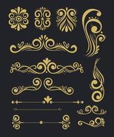set of gold luxury decorative elements vector