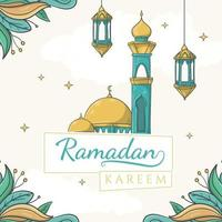 text Ramadan Kareem on paper tags with hand drawn mosque and islamic ornament