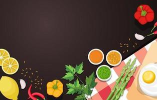 huevo, limón y verduras en la mesa de la cocina vector
