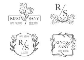 Establecer plantilla de logotipo de boda floral dibujado a mano vector