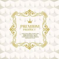 etiqueta de producto premium en un marco dorado vector