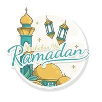 hand drawn marhaban ya ramadan sticker style vector