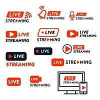 diseño de banners de transmisión en vivo vector