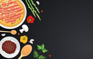 Pizza and Vegetables on Dark Kitchen Backdrop vector
