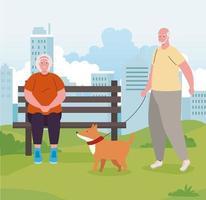 pareja de ancianos en el parque con perro vector