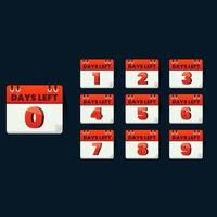 Number of days left sign for promotion business vector