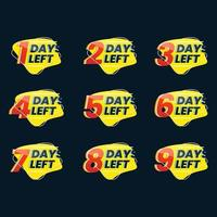 Number of days left promotional numbers vector