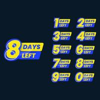 Set of number of days left for promotion business vector