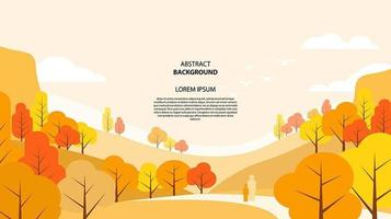 Abstract flat autumn landscape background vector