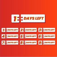 Set of number of days left promotional template banner vector