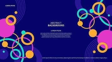 Fondo de memphis de formas de anillo plano abstracto vector