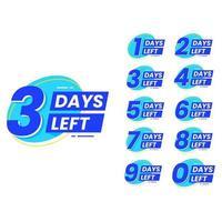 Set number of days left promotional template banner vector