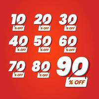 Numbers of special discount sign template set