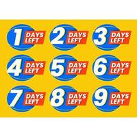 Abstract set of numbers of days left design vector