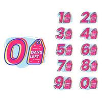 Promotional banner with number of days left sign vector