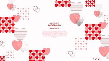 Abstract flat heart shapes memphis background vector