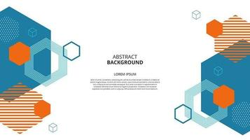 Abstract hexagonal shapes white background vector