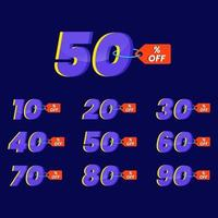 Numbers of special discounts template design vector