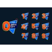 Set of numbers of days left promotional template banner vector