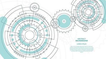 Fondo de tecnología de engranajes planos abstractos vector