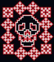 pixel skull-vintage design t shirts vector