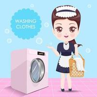Beautiful housekeeper washing clothes