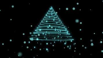 animación abstracta del árbol de navidad y de las partículas.